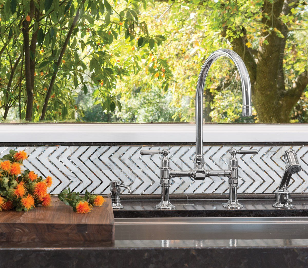 AKDO's Allure Collection made its debut in the Traditional Home Napa Show House kitchen.