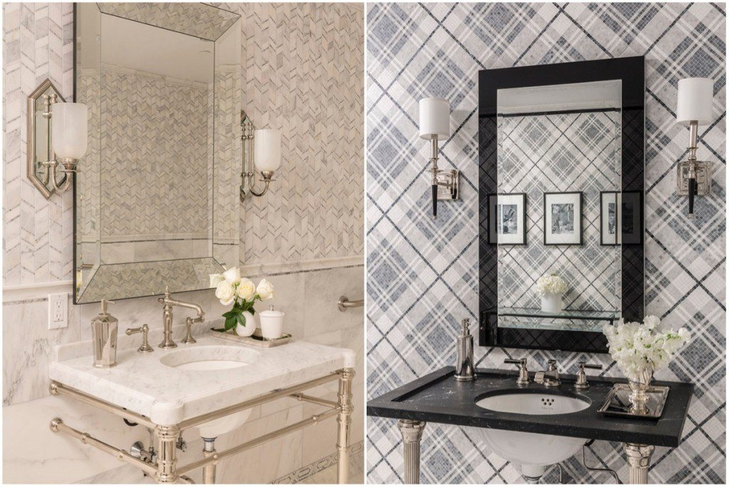 Two large working baths on the main level double as gorgeous design vignettes featuring AKDO's iconic mosaic collections, Allure and Balmoral Plaid.