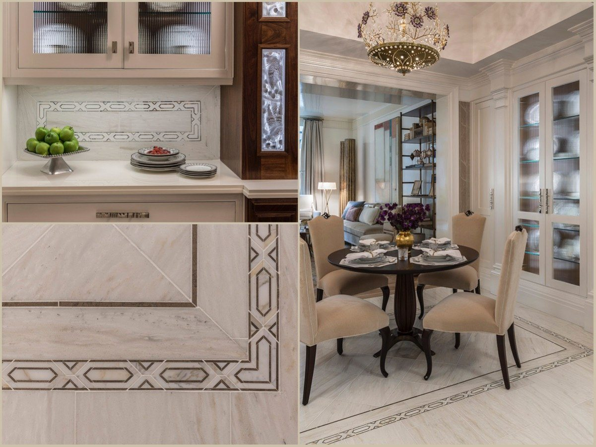 White Haze marble is the new, softer alternative for a chic look. Allure radiance borders create carpets to define the island and breakfast areas.