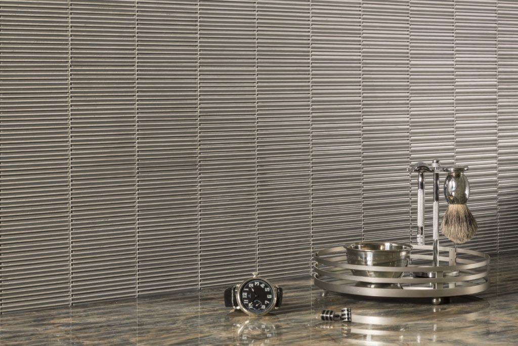Loom in Silver Silk graces a gentleman's dressing area with an Art Deco feel.