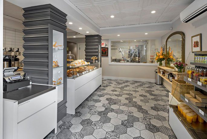 Café Madeleine in Boston, MA, as designed by EMBARC Studios. Seen here: Heritage Tile