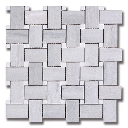 Ash Gray - Basket Weave Ash Gray (H) w/ Thassos (H) Interlocking