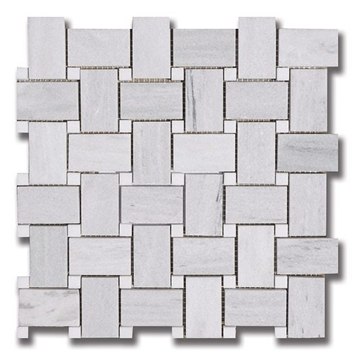 Ash Gray - Basket Weave Ash Gray (P) w/ Thassos (P) Interlocking