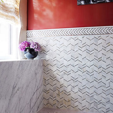 bathroom-with-gray-and-white-tile-and-red-walls