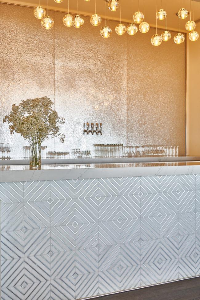 Bar Design. Gold Walls. Metallic Tile.