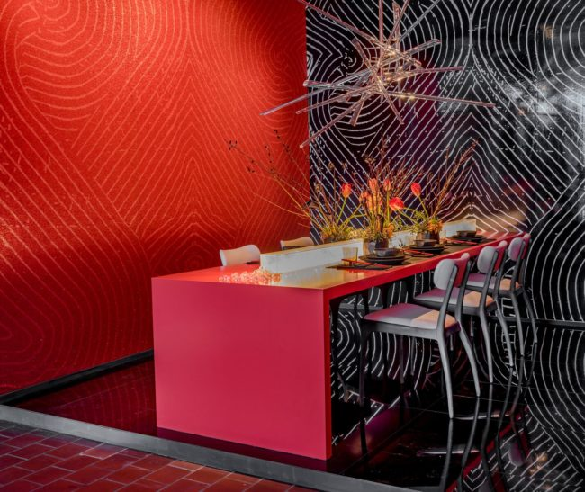 Maximalism in Hospitality Design. Restaurant Design. Black Polished Tile Floor.